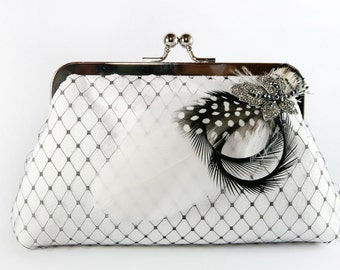 Bridal Clutch with Black and White Rhinestone Feather Brooch 8-inch