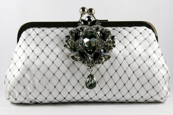 Sparkle-licious - White Clutch with Large Black Crystal Brooch - 7 inches