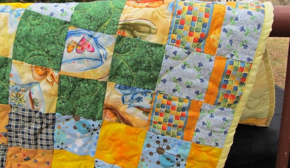 Clearance Sale: Table Runner, Tea Party, Let the Sunshine In Yellow, Blue and Green, Bright Cheerful Decor