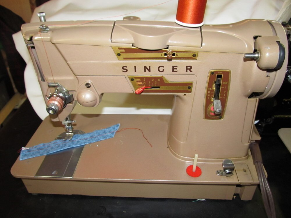 sewing machine 1962 singer 328k style o matic very nice. Black Bedroom Furniture Sets. Home Design Ideas