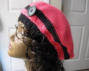 Crochet Flower Button Hat, Pink And Black Stylish Beret Cloche
