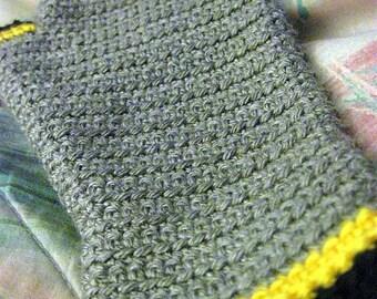 Crochet Fingerless Gloves, Gray, Yellow, and Black Wrist Warmers