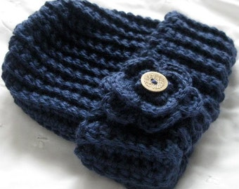 Crochet Hat, Navy Blue Ribbed Button Flower Pull On