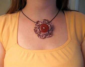 Crochet Necklace, Cranberry Red and Pink Button Flower Dangle Pendant