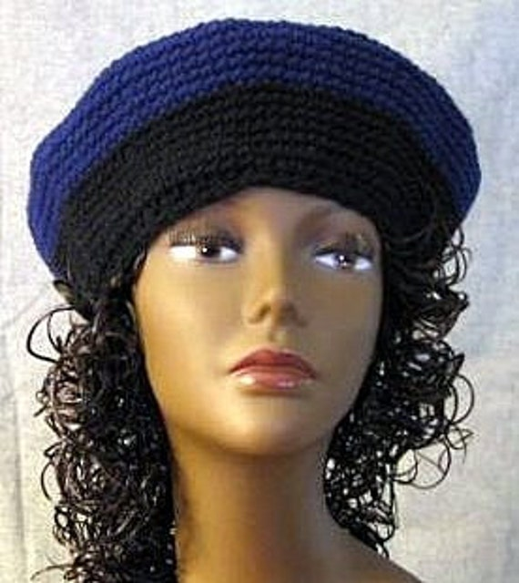Crochet Beret Hat, Dark Blue And Black Trim Retro