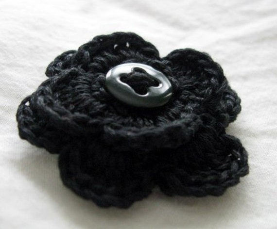 Men's Button Back Boutonniere, Black Crochet Pin