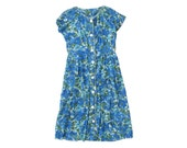vintage BEAUTIFUL '50s PAINTED FLORALS ocean blue sheer print dream dress. size l xl.