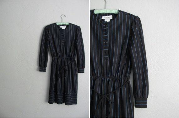 s a l e . vintage '80s black SECRETARY dress with blue STRIPES. size s m.