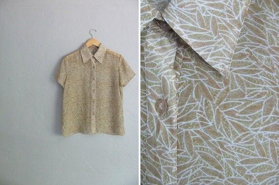 SALE / vintage CAMO LEAF print sheer button-up blouse. size s m l.