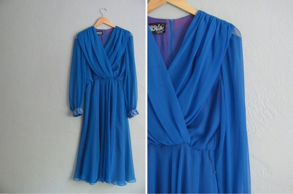 s a l e . vintage '80s cobalt blue formal CHIFFON party dress. BEADED cuffs & SHEER sleeves. size m l.