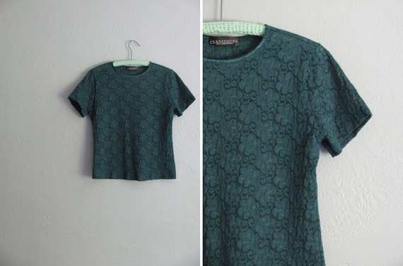 vintage '80s/'90s FOREST green GRUNGE short sleeve LACE top. size s m l.