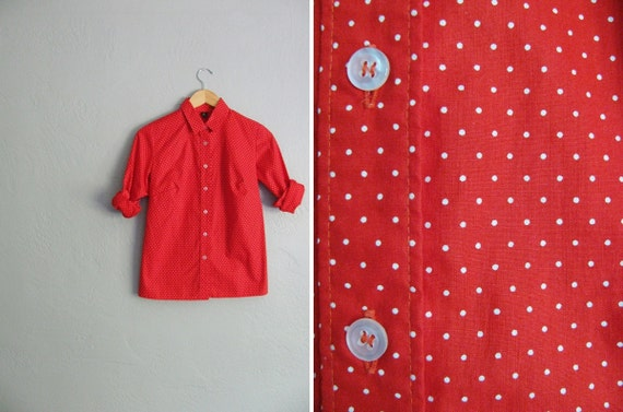 vintage '80s/'90s bright red & white POLKA DOT OXFORD button-up shirt. size s m.