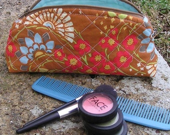 Small Zippered Makeup Bag / Cosmetic Case - For Women - Amy Butler Lotus Geisha Fans