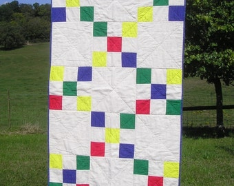 Handmade Baby Quilt - Crib Quilt - Gender Neutral - Primary Color Jumble - All Cotton