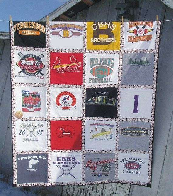 Custom t shirt quilt large lap size 20 shirts for How to make t shirt quilts easy