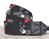 MADE TO ORDER - Camera Strap  - Michael Miller Zen Blossoms Black