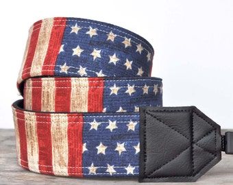 MADE TO ORDER - Camera Strap - Patriotic American Flag