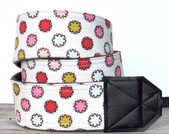 DSLR Camera Strap - Michael Miller Vintage Dot Breeze