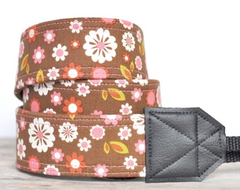 MADE TO ORDER - Camera Strap - Brown Floral