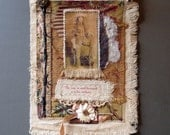 Collaged Fabric Wallhanging - Mixed Media - Small Vintage Cowgirl - OOAK
