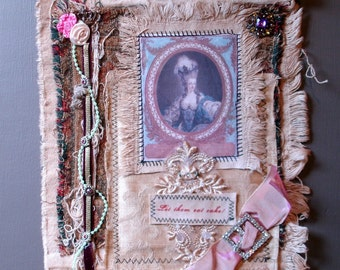 Collaged Fabric Wallhanging - Mixed Media - Marie Antoinette - Let Them Eat Cake