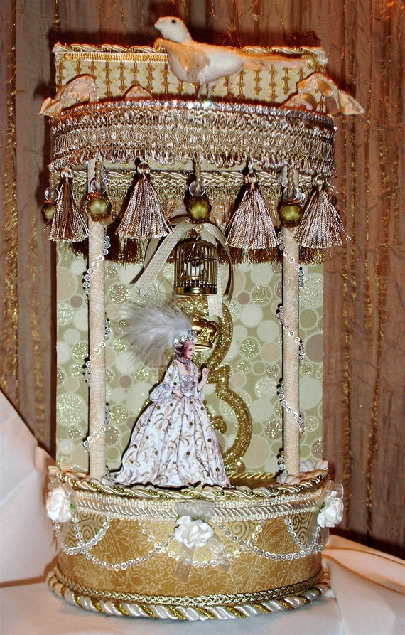 Lavish Marie Antoinette Theater - White and Gold - OOAK - Original MIxed Media