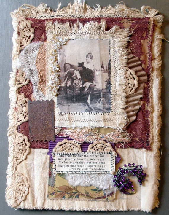 Collaged Fabric Wallhanging - Mixed Media - Belle Star