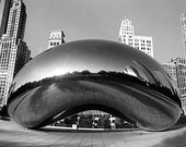 Cloud Gate or 'The Bean' in Chicago's Millennium Park: Black and White Photo