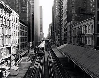 Chicago, Wabash L Tracks: Black and White Photo