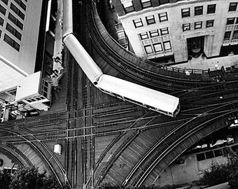 Chicago 'L' Train at Lake and Wells from Above: Black and White Photo
