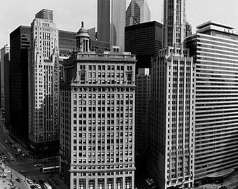 Chicago Skyline from the Trump Tower: Black and White Photo