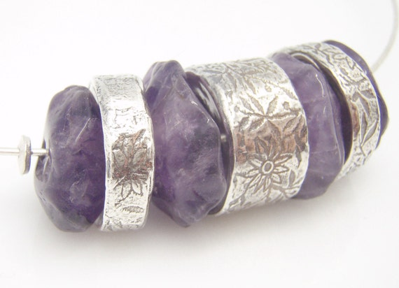 Amethyst and Silver Chunky Bead Necklace
