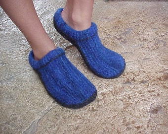 Felted Clogs Made Easy ...simple slippers to knit.  Wms S,M,L Pattern