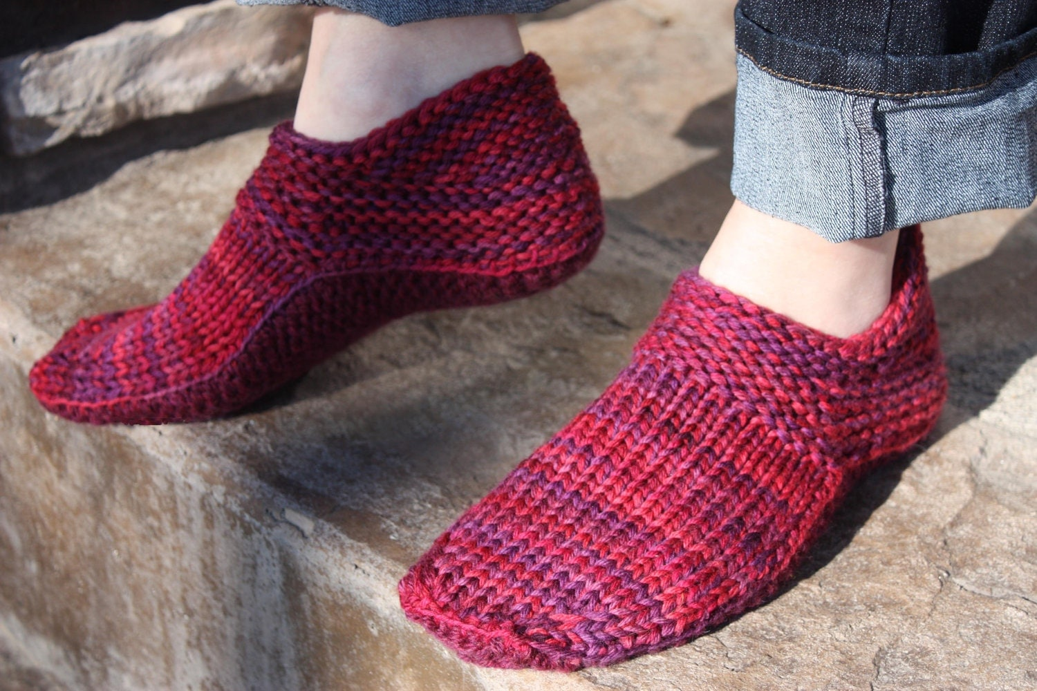 Slipper Socks Knitting Pattern Easy : Options Slippers PATTERN Knit knit w/crochet plus Felting