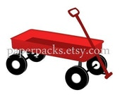 Clip Art -  Little Red Wagon.  For digital scrapbooking, cardmaking, invites. Commercial Liscence Included