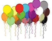 Clip Art -  Party Balloons. For digital scrapbooking, cardmaking, invites. Commercial Liscence Included