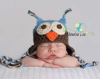 Adorable Handmade Owl Hat...Photography Prop...You choose the size