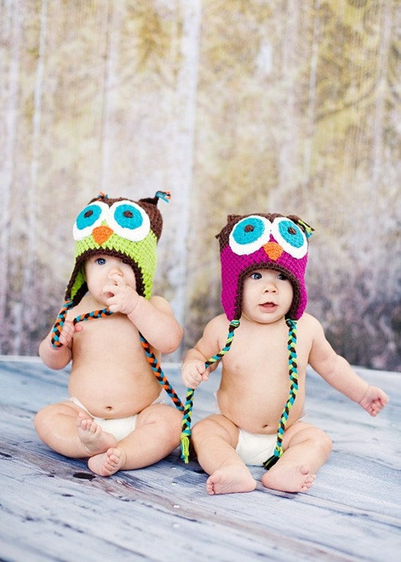 TWINS Adorable Handmade Owl Hats...Photography Prop