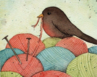 """Learning to Knit - 5""""x5"""" archival print"""
