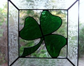 Shamrock in Open Frame Stained Glass Suncatcher
