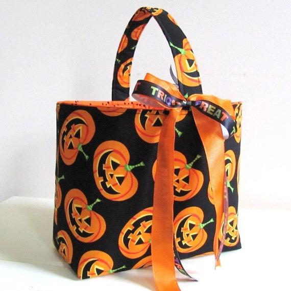 Halloween Treat Bag Trick or Treat Tote-Orange Pumpkins on Black-Ready to Ship