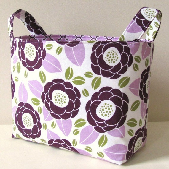 Fabric Basket Organizer Storage Bin in Joel Dewberry's Bloom in Lilac