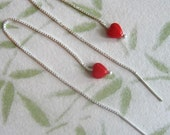 Love earrings - tiny red hearts on long sterling silver ear threaders - ear threads, chain earrings - free shipping in USA