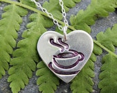 I heart coffee I love tea - handmade fine silver heart charm with teacup on sterling chain - version 2 upright heart - free shipping USA