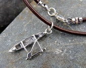 Paddler necklace - sterling silver Hawaiian outrigger canoe charm on a leather cord  or vegan cotton - for men or women - free shipping USA