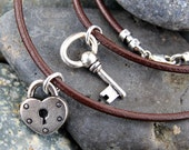 Key to my heart silver and leather couples necklace set- two necklaces silver key and heart lock, brown leather - free shipping USA