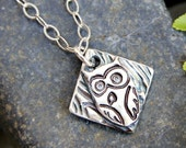 Charming owl necklace - handmade fine silver rustic woodland bird charm, oxidized textured sterling silver chain-  free shipping USA