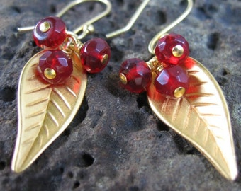 Golden harvest berries earrings - 22k gold plated leaves with garnet fruit - LAST PAIR - free shipping USA