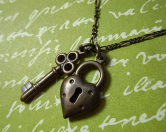 Vintage brass key to my heart necklace - heart lock and key charms - figaro chain  - antiqued brass retro vintage style- free shipping USA