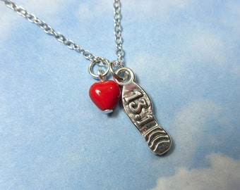 Love to Run Half  Marathons Necklace -sterling silver 13.1 mile shoe charm and red glass heart - for runners